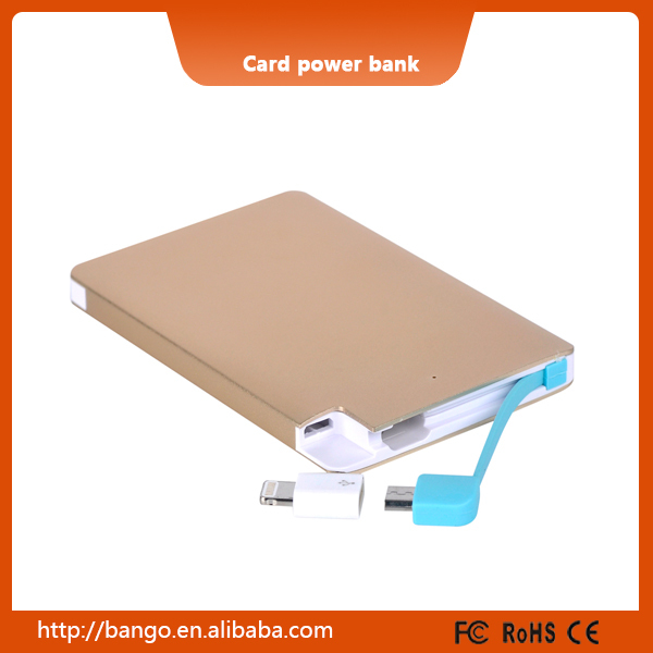 2600mah Most Popular Gold Power Banks Card with mini charging cables for Samsung / iPhone / Huawei