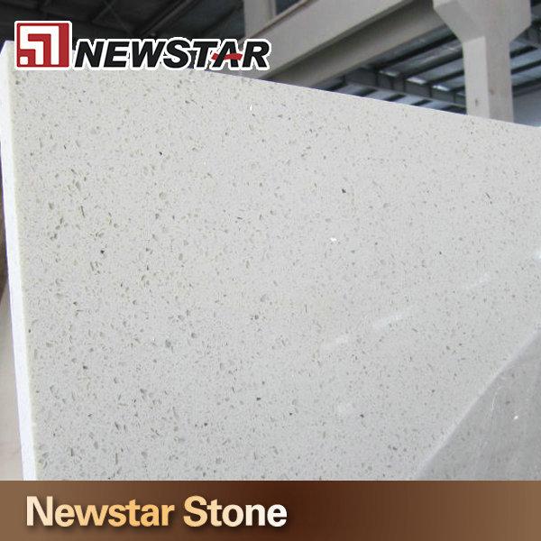 Engineered Stone Polished Flat Edge Sparkle White Quartz Countertop