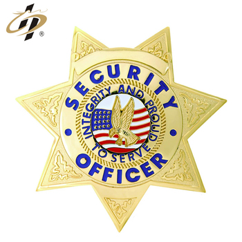 Wholesales custom bulk brass star shield security office enamel badges