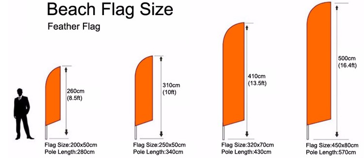 Flying Beach Feather Flag With Fiberglass Pole