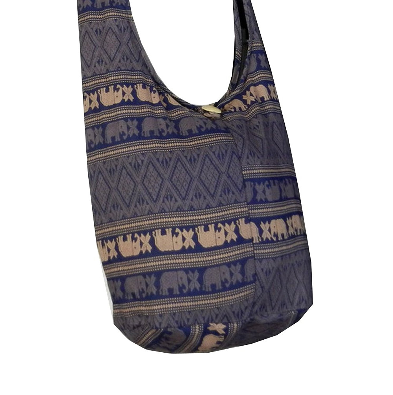 BTP Ethnic Elephant Sling Crossbody Shoulder Bag Purse Hippie Hobo Thai Cotton Gypsy Small in Pink EES2