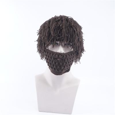 New Handmade Knitted Men Winter Crochet Hat Beard Beanies Face Tassel wig  Bicycle Mask Ski Warm ad01a12c774