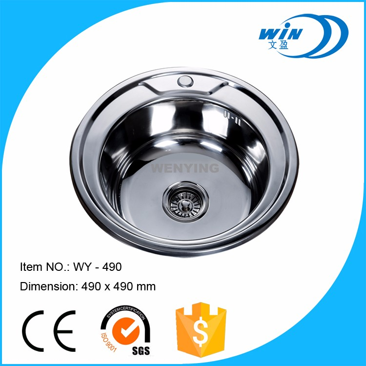 Round Single Bowl Oval Shape Kitchen SInk Stainless Steel