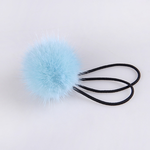 Wholesale pom pom hair band christmas gift hairy fur hair rope elastic