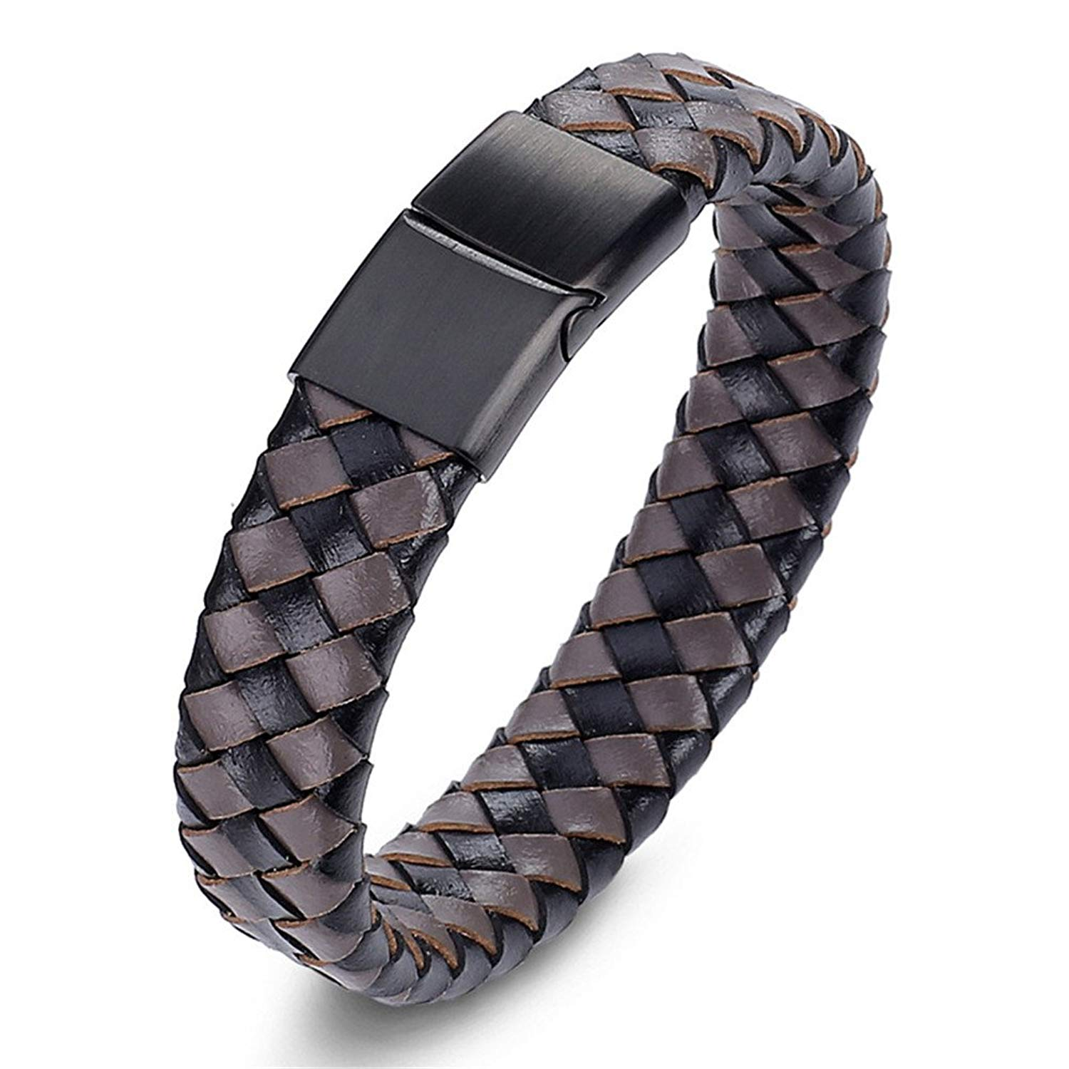 LiFashion LF Mens Free Engraving Personalized Name Date Stainless Steel Genuine Braided Wide Leather Bracelet Heavy Cuff Bangle for Boyfriend Dad Husband Gift Customized,Brown Black