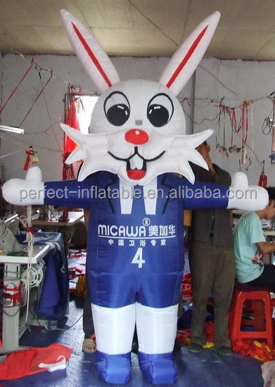 Inflatable white rabbit for advertisement, lovely and happy inflatable promotion