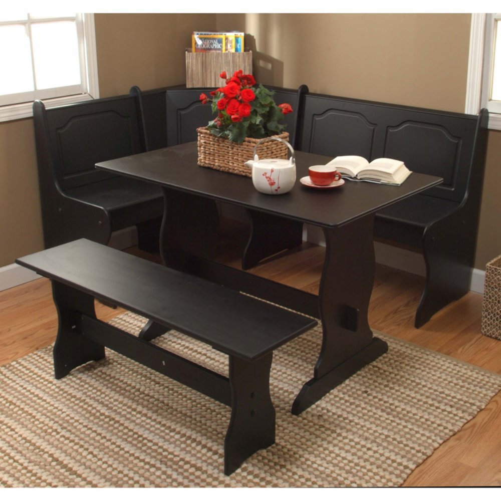 Etonnant Get Quotations · Target Marketing Systems Traditional Style 3 Piece Nook  Corner Dining Set, Seats 6, Black