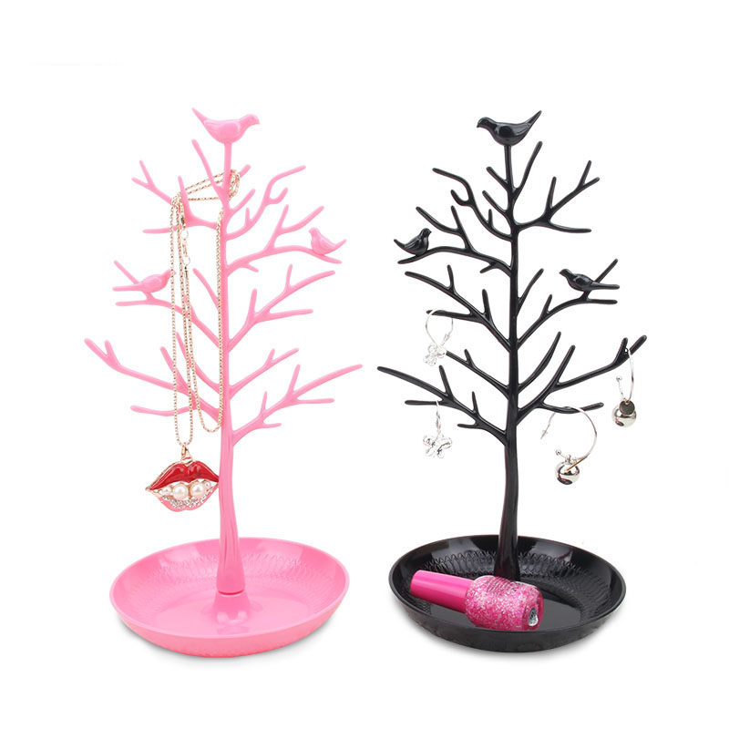 Lovely Design Plastic Jewelry Display Stand Tree Shaped Earrings Jewelry Display Stand With Tray