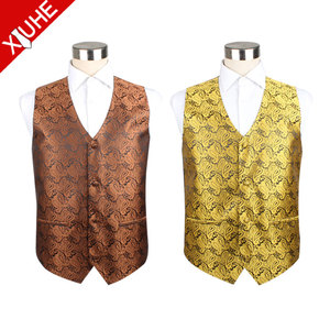 Chinese Supplier Reasonable Price Paisley Designer Waistcoats Polyester Wedding Suits Vest for Men