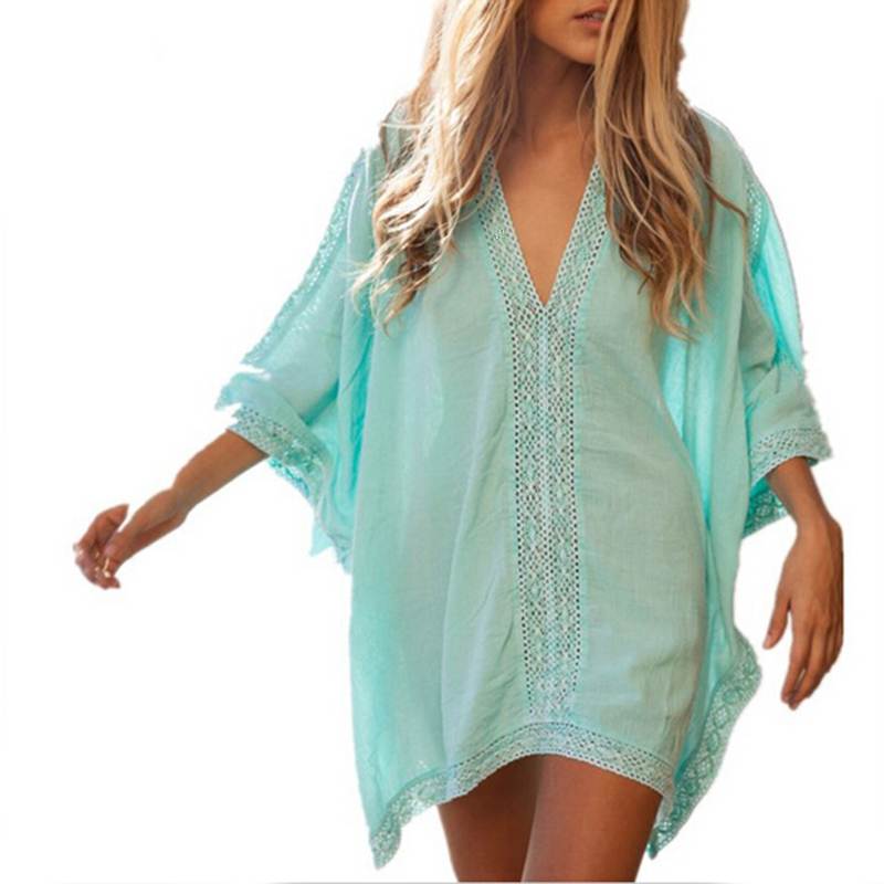 5dfd51dad4012 Get Quotations · Summer Women Solid Color Beach Cover-Ups Sexy Ladies  Cotton Lace Hollow Out Bat Sleeve