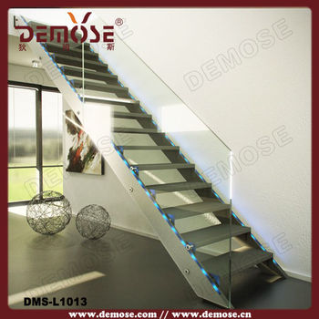 Steel Staircase  Open Riser Staircases With Led Light