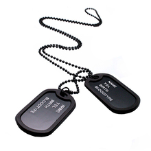 Splendid Military Black 2 Dog Tags Chain Pendant Army Style Necklace Mens Jewelry gift for men