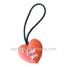 Heart shape soft PVC custom logo zipper puller
