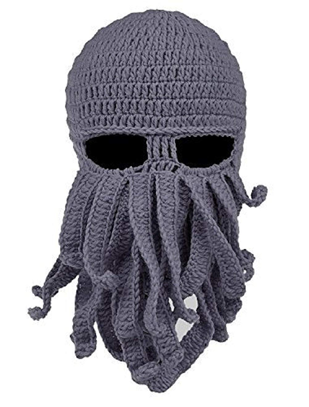 VIVZST Unisex Octopus Hat Mask Windproof Funny Beanie Warm Knit Hat Halloween Christmas