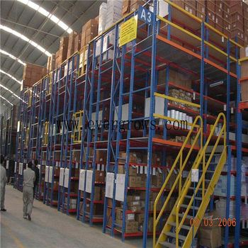 Warehouse Industrial Mezzanine Stairs Floors With Sliding Gate For Loading  Cargo