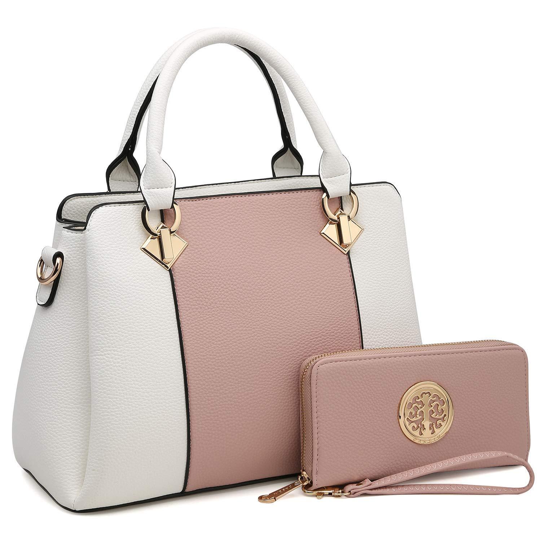 d36d9d5cb4 Get Quotations · MK Belted collection Stylish women handbags~Vegan leather  Satchel handbag Top handle purse Classic
