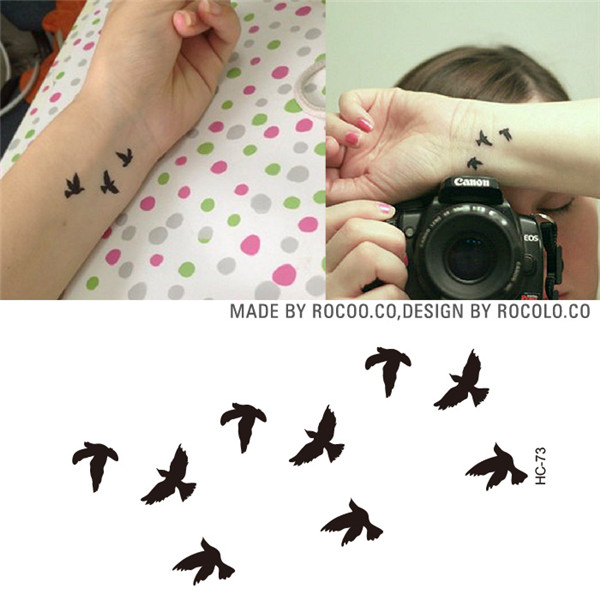 HC1073 Women Sexy Finger Wrist Flash Fake Tattoo Stickers Liberty Small Birds Fly Design Waterproof Temporary