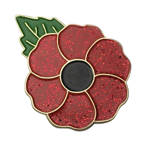 Wholesale Brass Glitter Gold Poppy Pin Badge