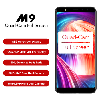 "LEAGOO M9 3G Smartphone 5.5"" 18:9 Full Screen Four-Cams Android 7.0 MT6580A Quad Core 2GB+16GB 2850mAh Fingerprint Mobile Phone"