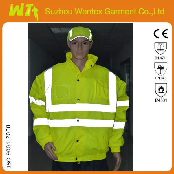 Hivis 100% polyester with PU coating waterproof bomber jacket