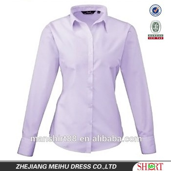 47dfc829ee7f1 Premier Poplin Long Sleeve Womens Ladies Blouse Plain Work Shirt ...