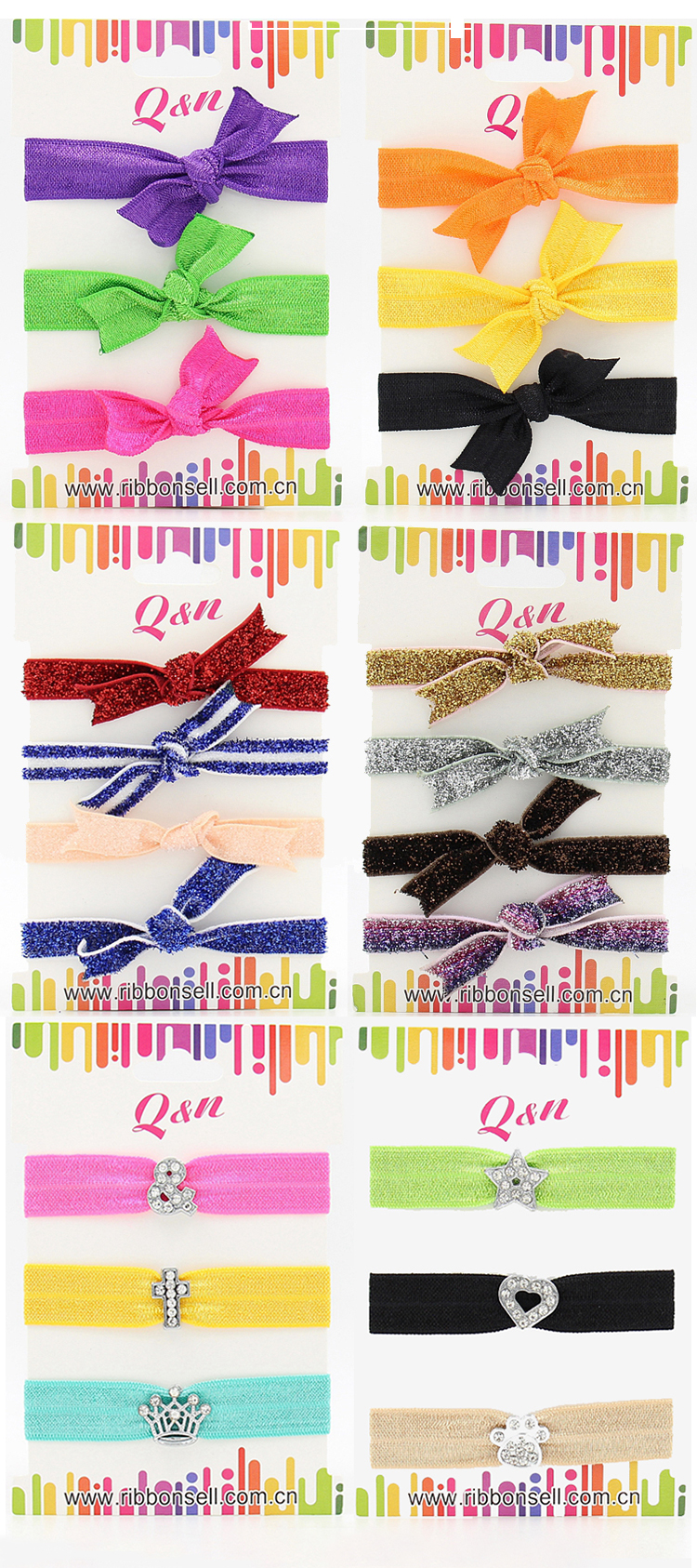 Custom mix patterns glitter solid printed color soft elastic black hair ties