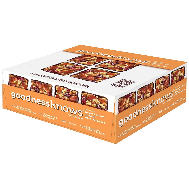 goodnessKNOWS Peach, Cherry, Almond & Dark Chocolate Gluten Free Snacks Square Bars 12-Count Box