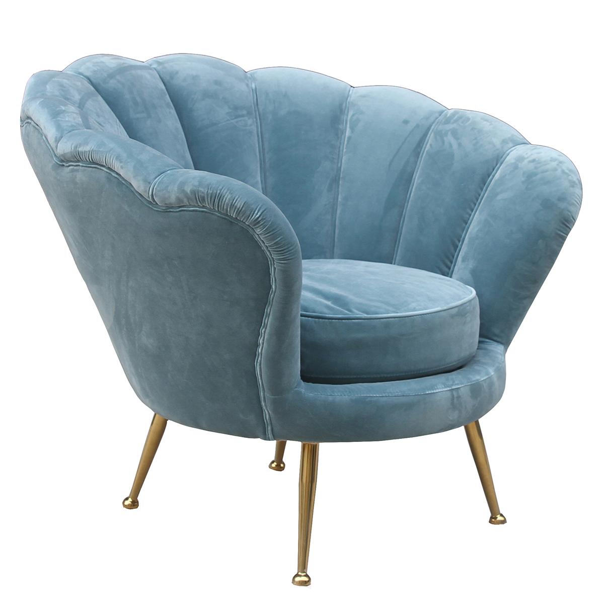 Shell Shaped Blue Velvet Corner Sofa Chair Buy Velvet