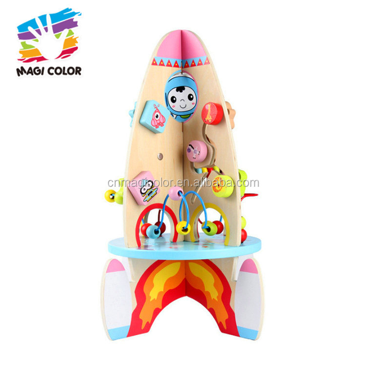 Wholesale best gift wooden rocket shape infant learning toy for baby ages 1 and up W12D077