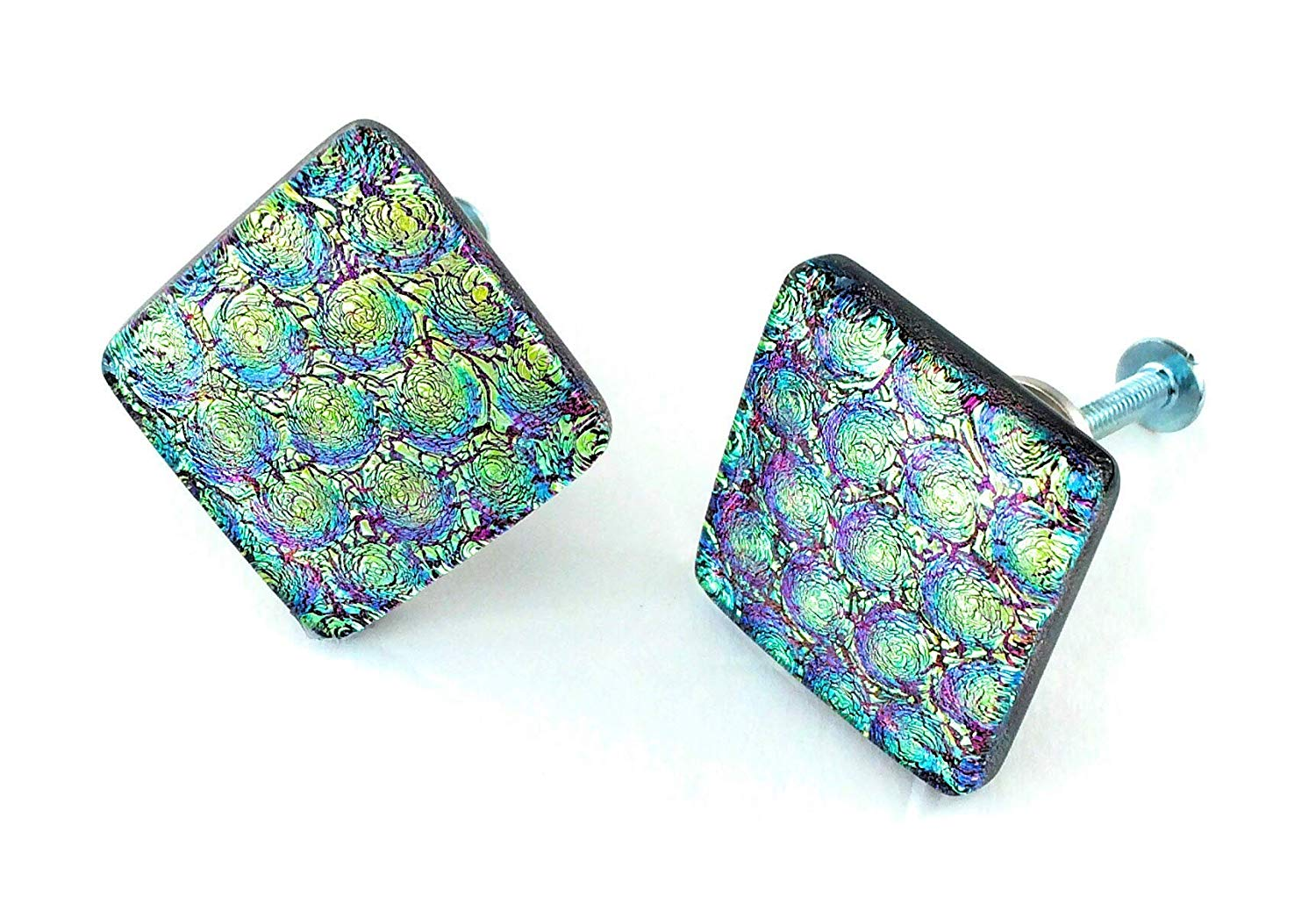 Set of Two Diamond shaped Fused Dichroic Glass Cabinet Door Knobs - Gold Teal and Purple Dichroic Glass - Custom Cabinet Knobs - Handmade Hardware
