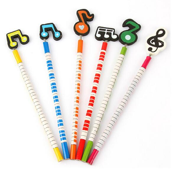 Best Amazon promotion gift DIY creative stationery kids Novelty pencil with funny cartoon musical notation shaped wooden topper