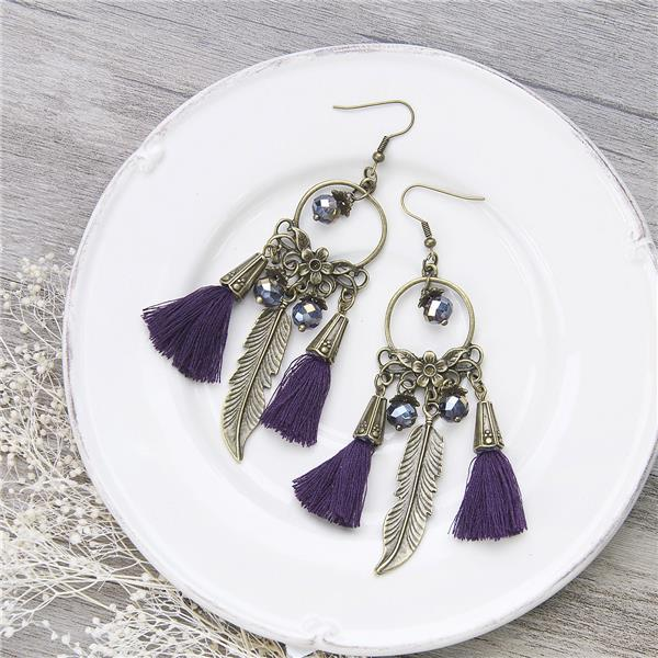Vintage Ethnic Tassel <strong>Earrings</strong> Round Antique Bronze Feather Purple AB Color Beads 10.3cm x 2.7cm