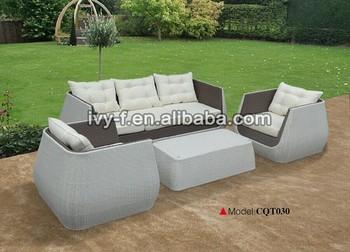 Modern Desgin Outdoor Rattan 3 Seater Sofa/metal Frame Wicker Sofa Set/white  Synthetic