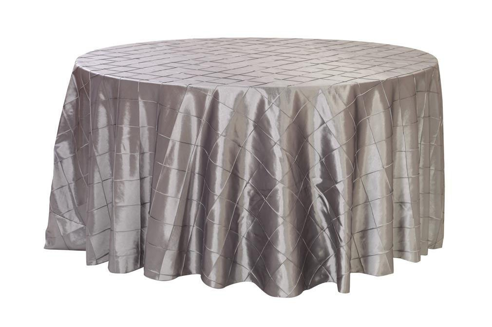 Your Chair Covers - 120 inch Round Pintuck Taffeta Tablecloths Dark Silver, Round Table Linens for 5 ft Round Tables