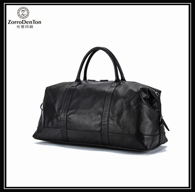 unisex black genuine leather big capacity duffle bag