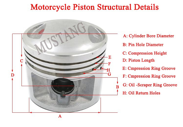 Motorcycle Parts 125cc Engine Pistons 57mm Piston Kit Made
