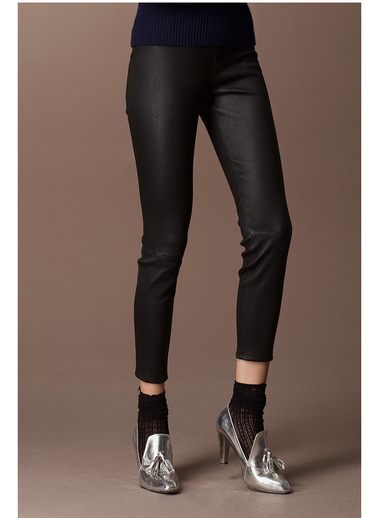 SEXY Women Girls Lamb Skin Pants Real Leather Leggings