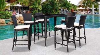 Rattan High Table With 6 Stools For Patio Furniture