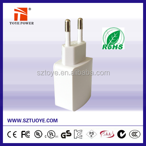 Made in China, 5v 500ma micro usb charger wall socket 240v US UK EU black and white