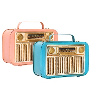 Metal Art And Craft Handmade Gifts Pink Blue Antique Iron Radio Toy Money Saving Box Vintage High Quality Coin Piggy Bank