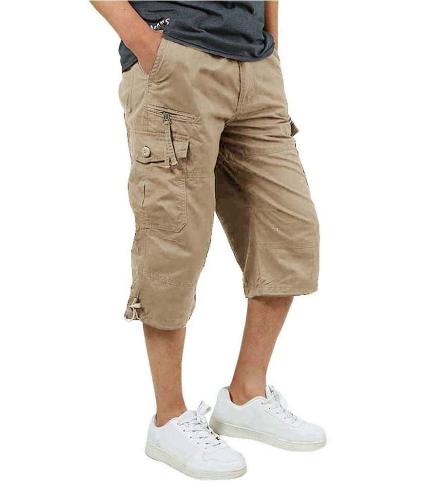 Etecredpow Mens Comfortable Multi Pocket Elastic Waist Bermuda Drawstring Cargo Shorts