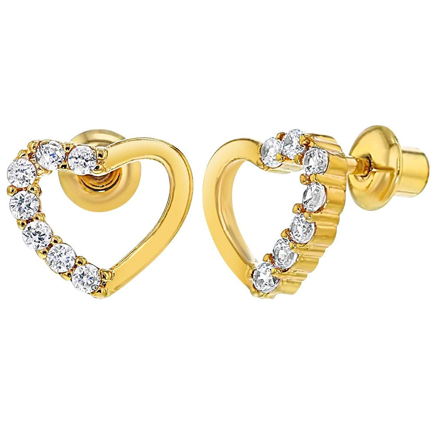 0066fb91e Get Quotations · 18k Gold Plated Clear Crystal Heart Children Baby Girl Screw  Backs Earrings