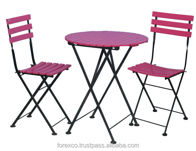 Set of 1 Round Table and 2 Folding Chairs, Acacia and Metal