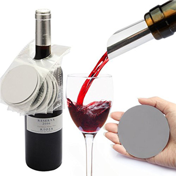 Thin Flexible PVC Drop Stopping Foil Wine Disc Pourer Spouts Metal Foil Reusable Wine Disk Pourer