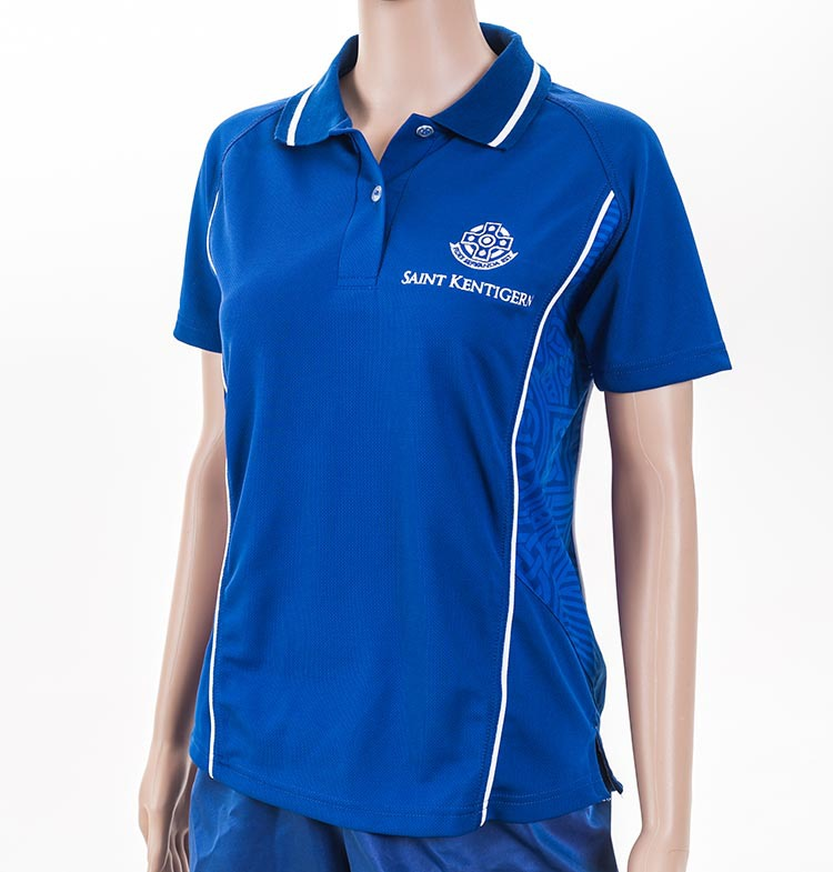 Customized logo blue racing women polo shirt with for Personalised logo polo shirts