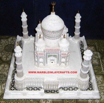 Handcrafted Collectible Alabaster Marble Made Replica Taj