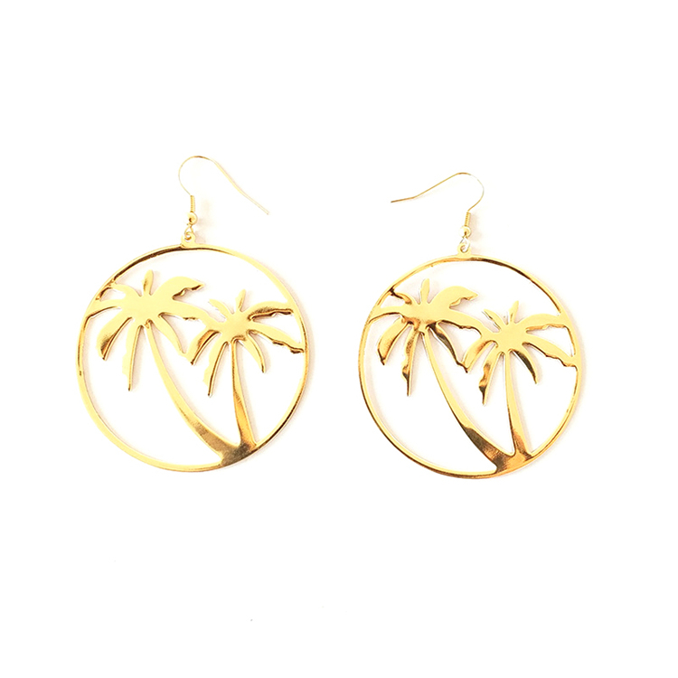 Fashion Exaggerate Gold Hoop Coco Tree Earrings Jewelry