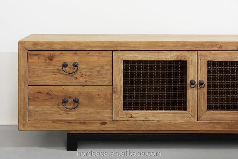 Franzosisch Stil Antiker Recyceltem Holz Tv Schrank Mit Eisen Rad