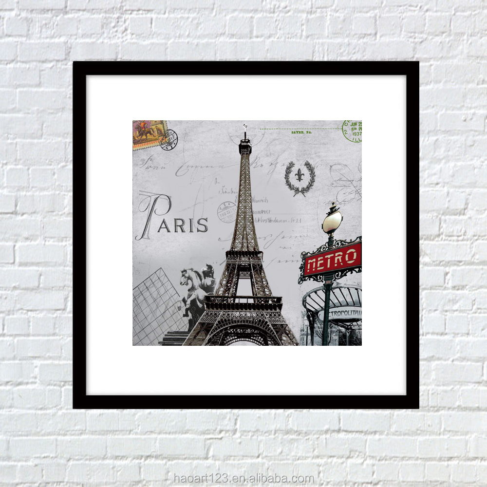 Decoracion De La Torre Eiffel Wall Hanging Paper Crafts Fine Art Painting With Wall Stickers Home Decor