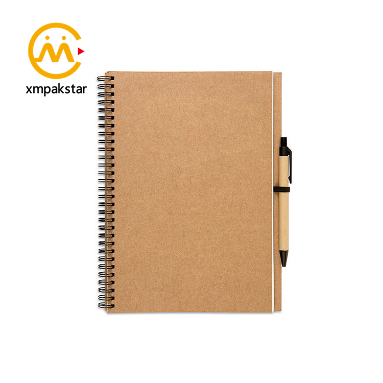 custom kraft hardcover spiral notebook with pen